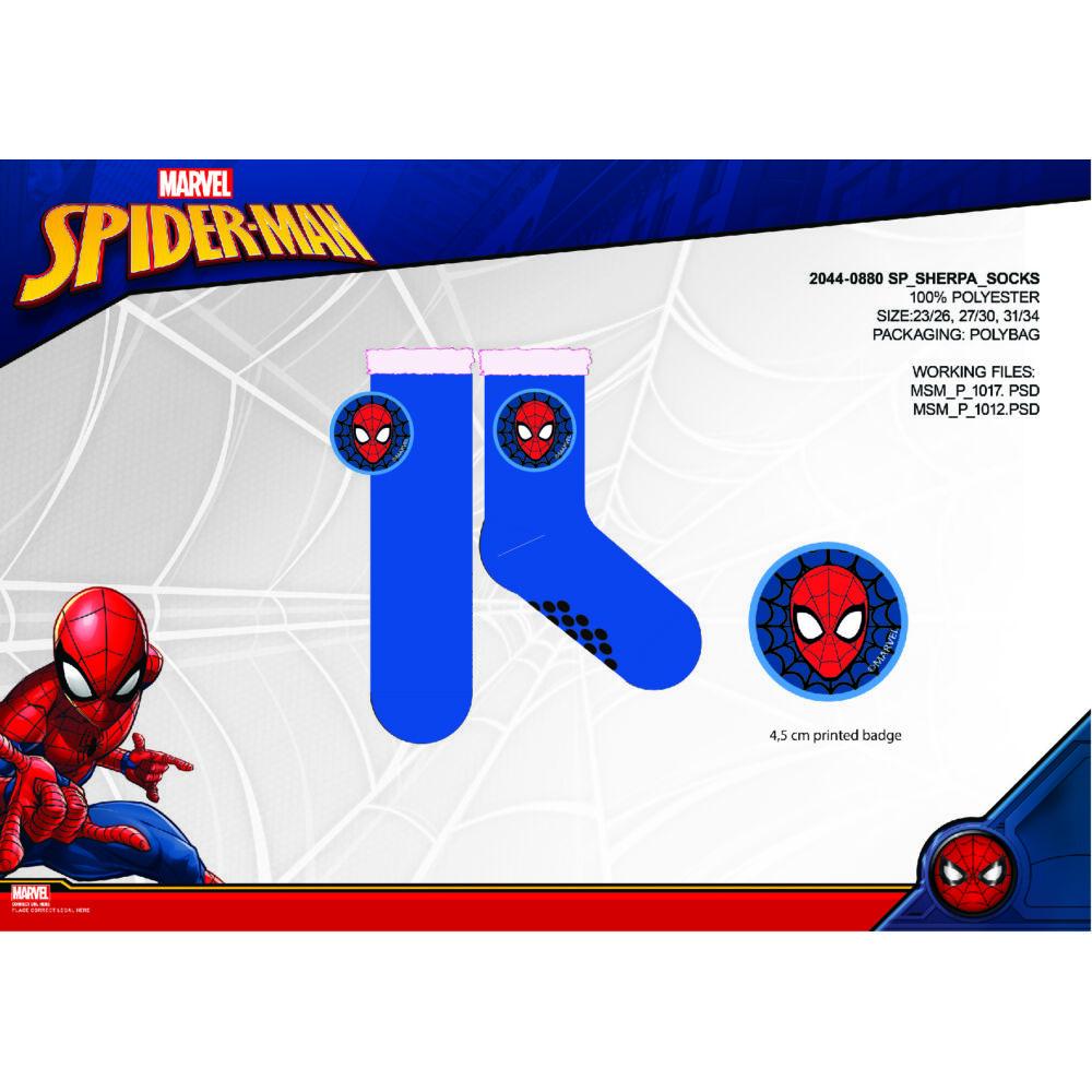 Spiderman csúszásgátlós meleg téli zokni gyerekeknek - sherpa zokni - sötétkék - 23-26