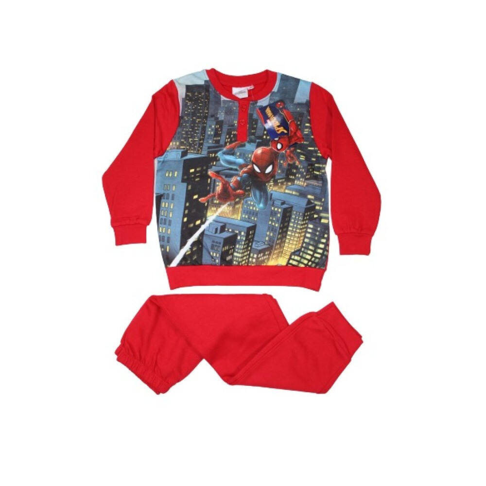 Téli flanel gyerek pizsama - Pókember - piros - 134