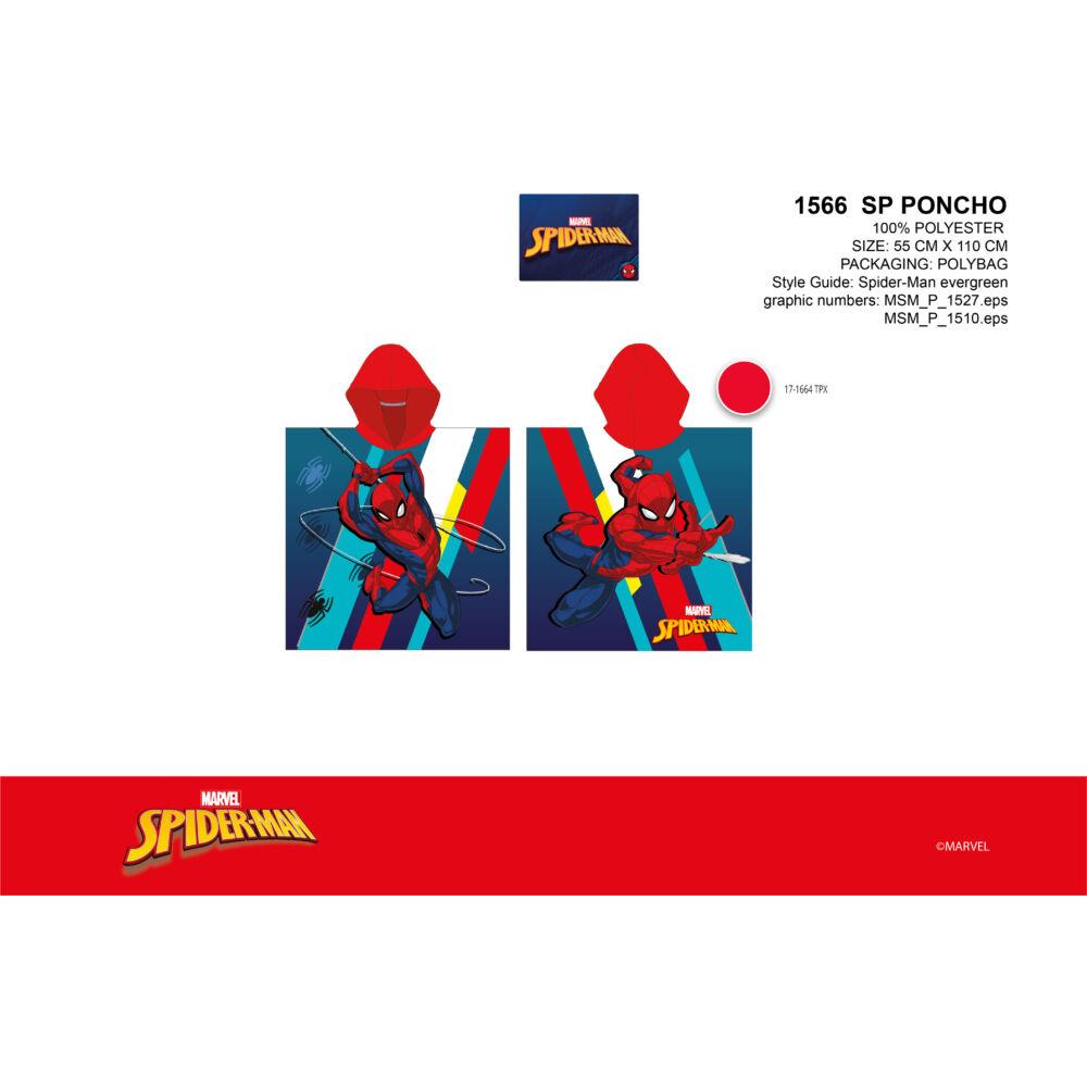 Pókember gyerek poncsó - piros kapucnival - 55x110