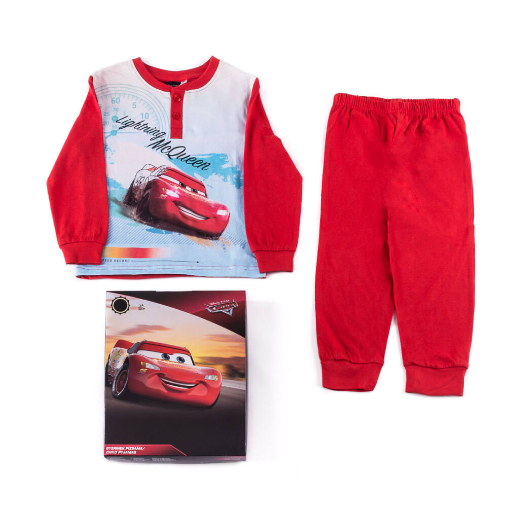 Verdák hosszú vékony pamut gyerek pizsama - jersey pizsama - 122 - piros
