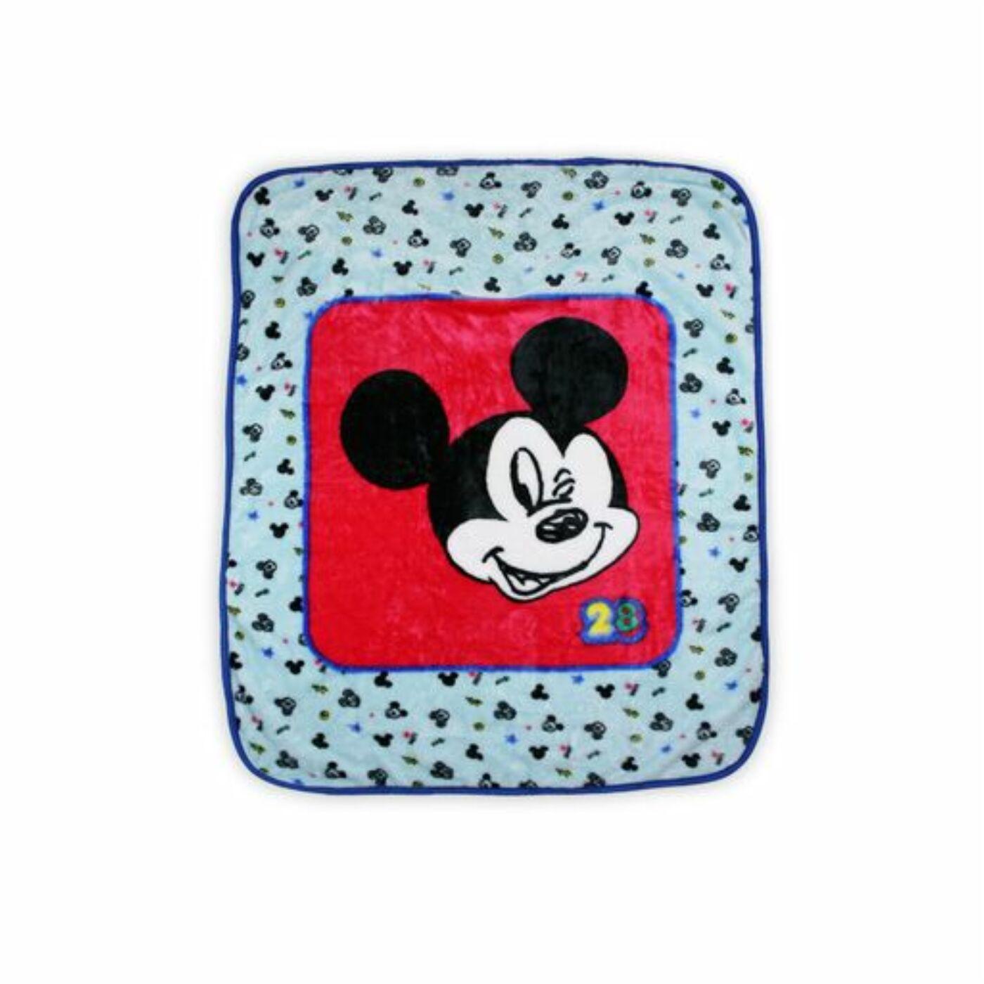 Mickey egér baba takaró kisfiúknak - 110 x 140 cm - világoskék