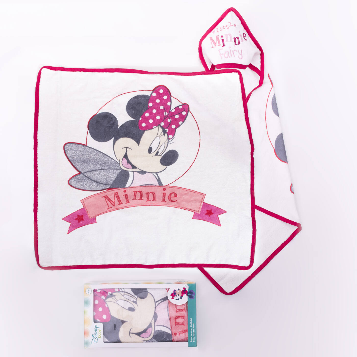 Minnie egér baba kapucnis törölköző - pamut babatörölköző – fehér-rózsaszín