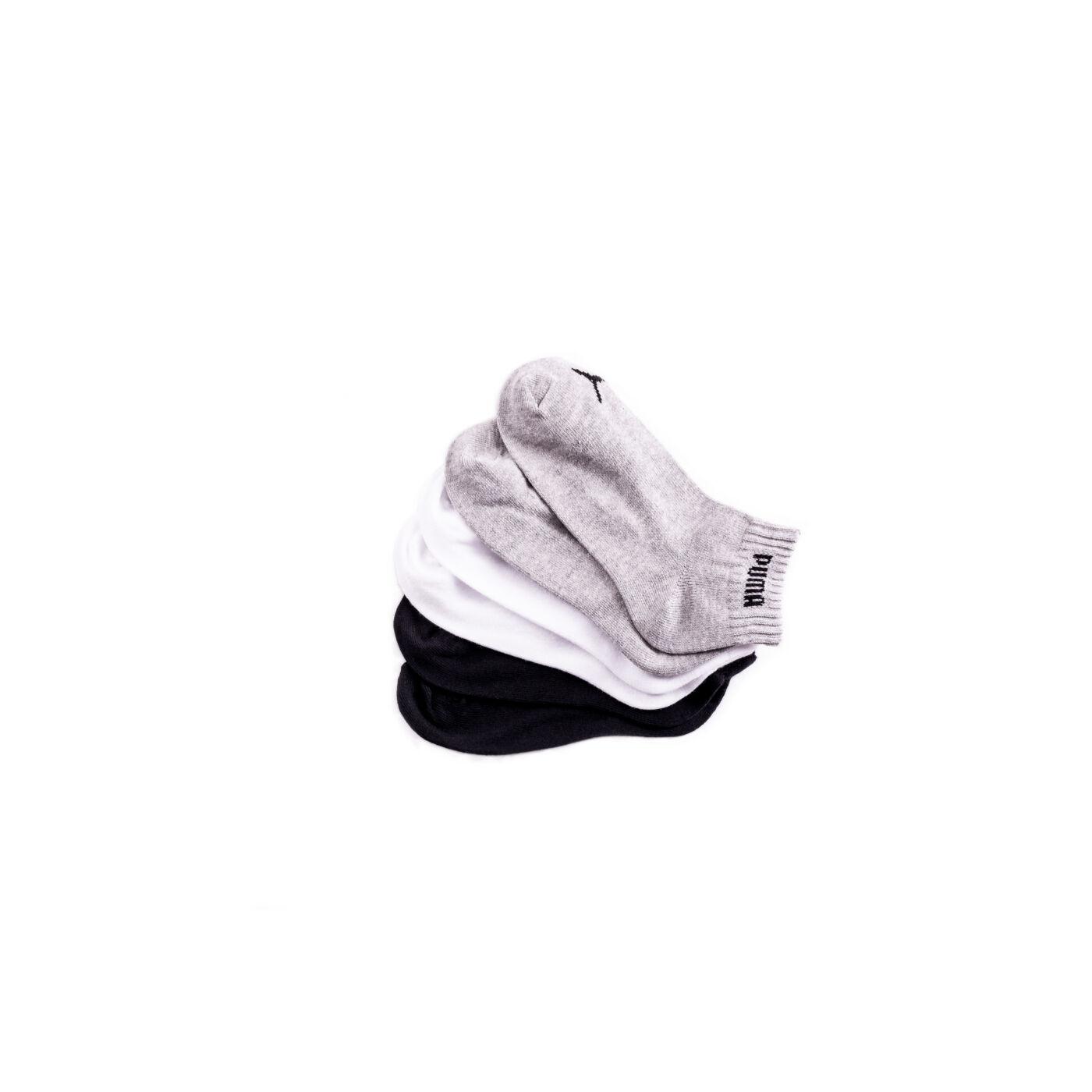 Puma unisex pamut zokni - 3 pár - rövid állású zoknik - 39-42 - fekete, fehér, szürke