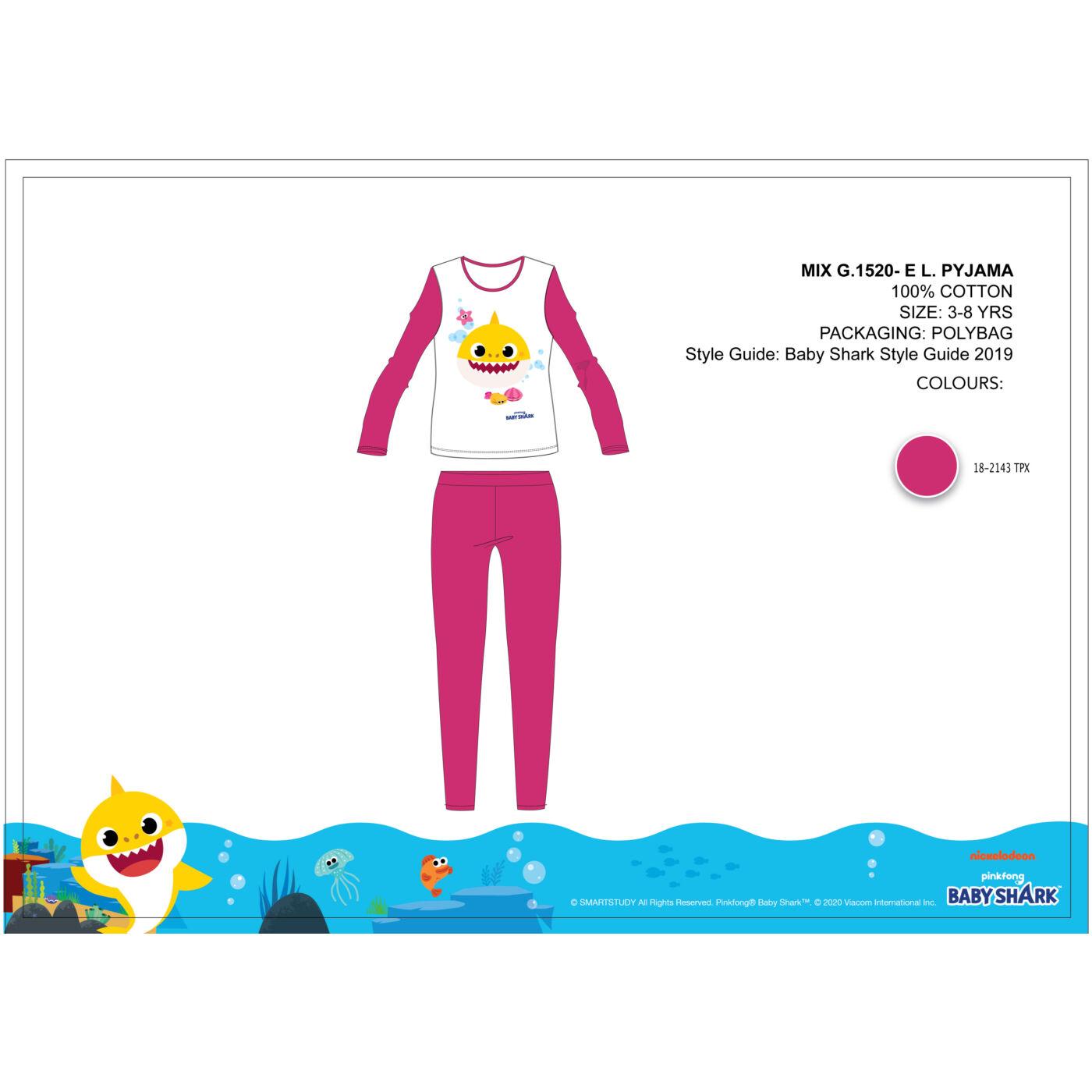 Baby Shark gyerek jersey pizsama - pamut pizsama - pink