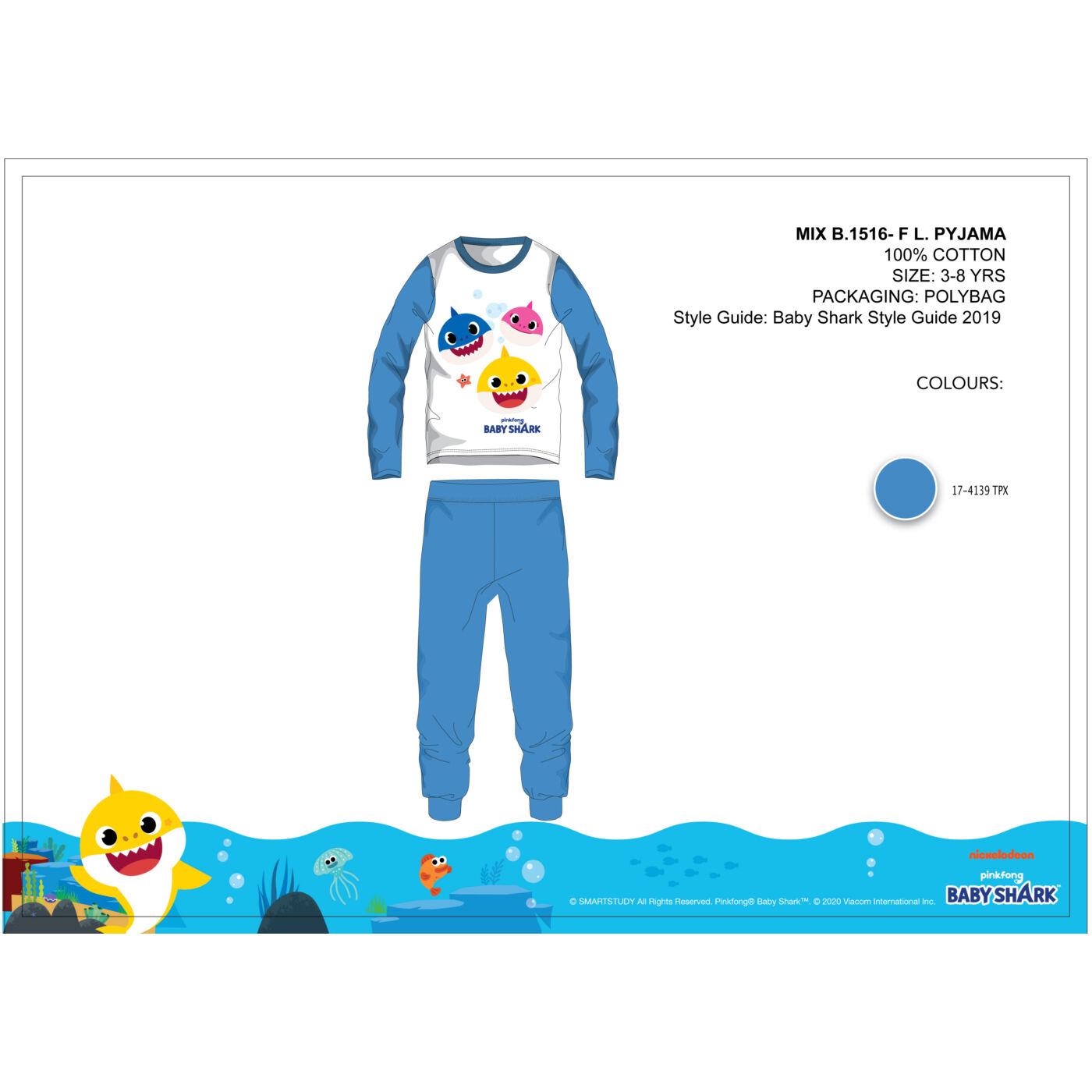 Baby Shark gyerek jersey pizsama - pamut pizsama - középkék