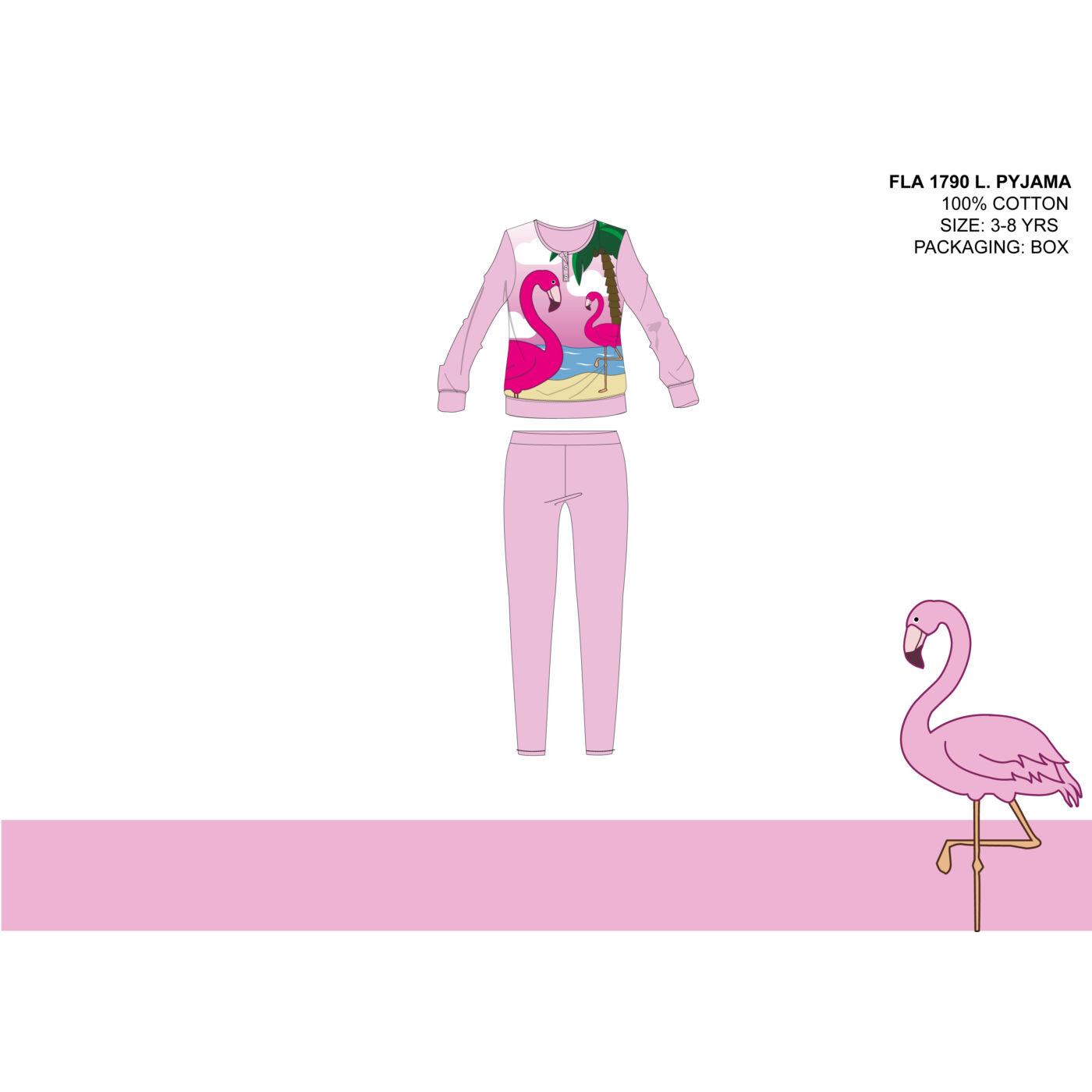 Flamingó vékony pamut gyerek pizsama - jersey pizsama