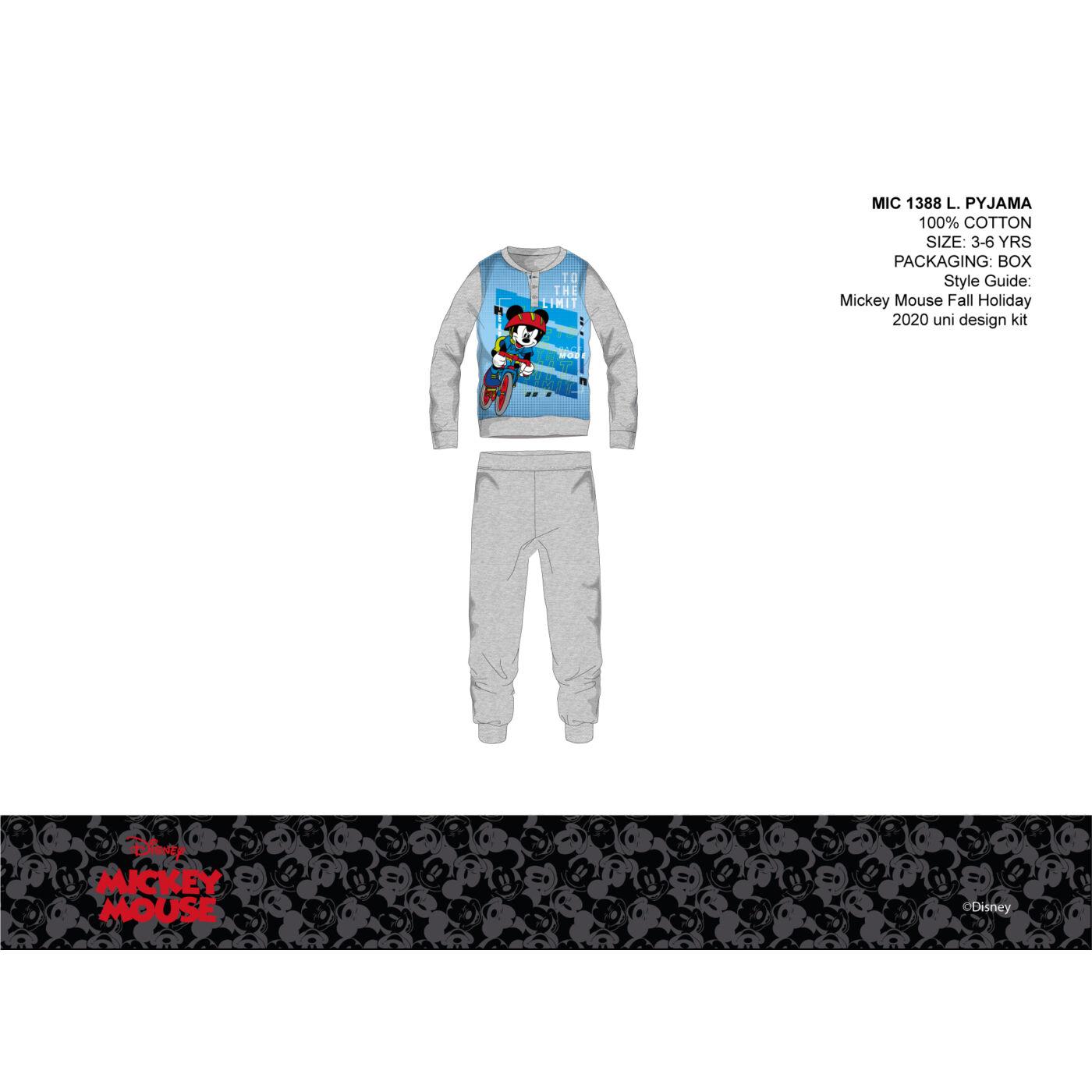 Disney Mickey egér vékony pamut gyerek pizsama - jersey pizsama