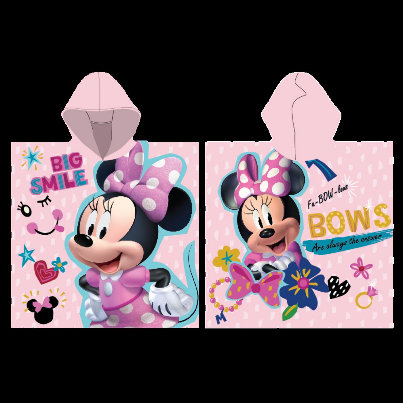 Disney Minnie egér gyerek poncsó - 55x110 - Big Smile felirattal - világosrózsaszín