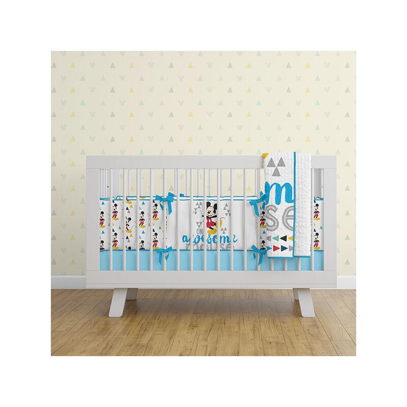 Mickey egér baba kiságy szett - 2 részes pamut baba kiságy garnitúra - fehér - 120x150