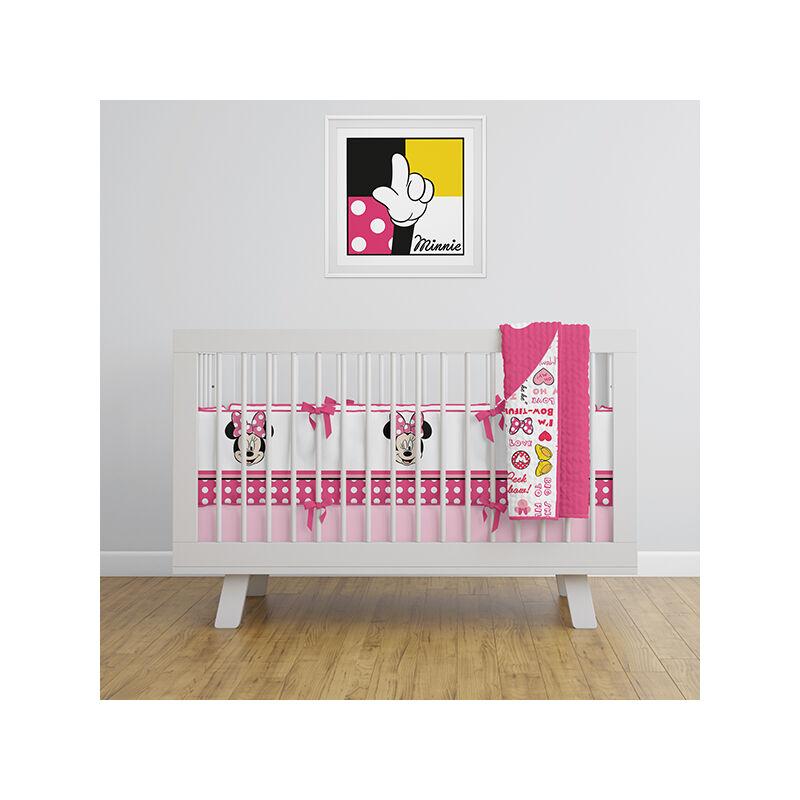 Minne egér baba kiságy szett - 2 részes pamut baba kiságy garnitúra - rózsaszín - 120x150