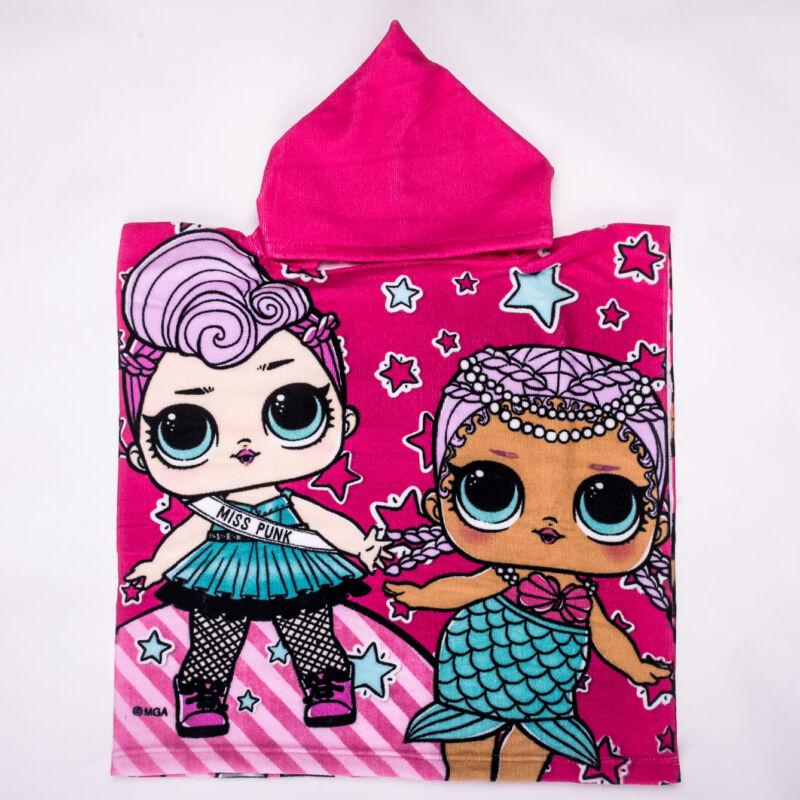 LOL baba gyerek poncsó - gyorsan száradó kapucnis törölköző - pink