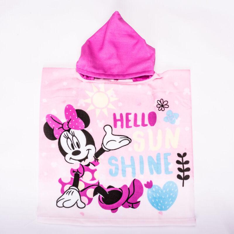 Minnie egér gyerek poncsó - gyorsan száradó kapucnis törölköző - rózsaszín