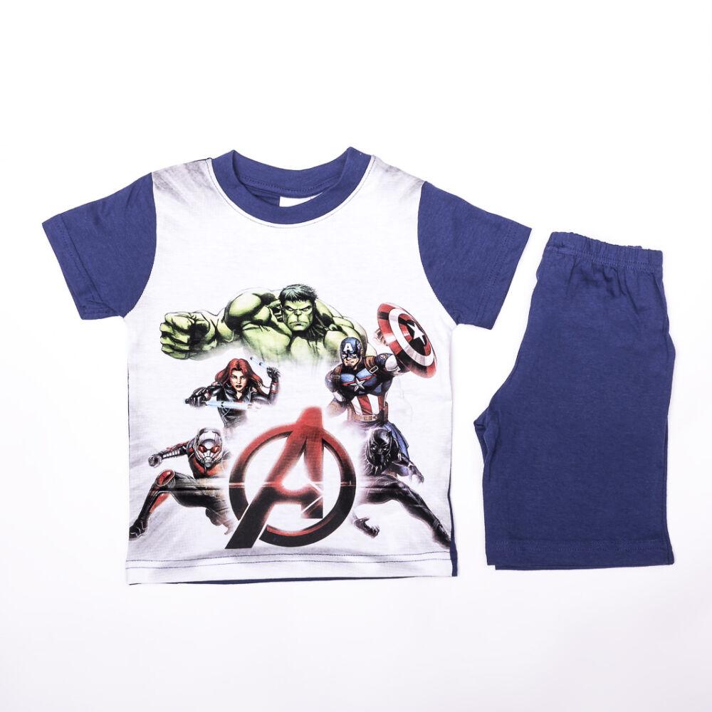 Bosszúállók kisfiú pamut nyári együttes - póló-rövidnadrág szett - sötétkék - 98