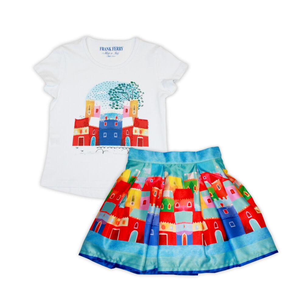 Házikó mintájú pamut póló-szoknya szett kislányoknak - fehér-mintás - 128