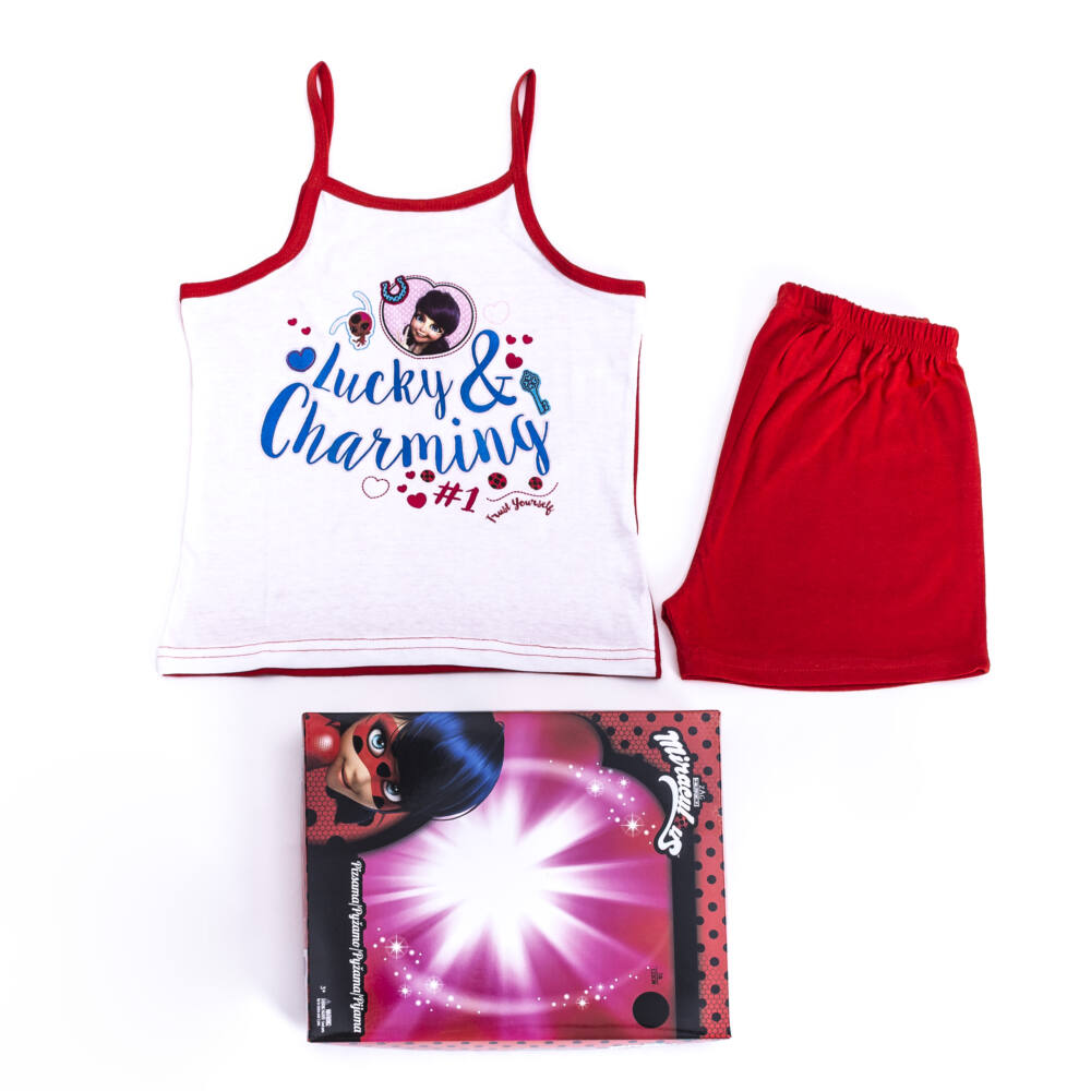 Katicabogár és Fekete Macska kalandjai kislány pamut pizsama - ujjatlan pizsama - nyári együttes - piros - 98