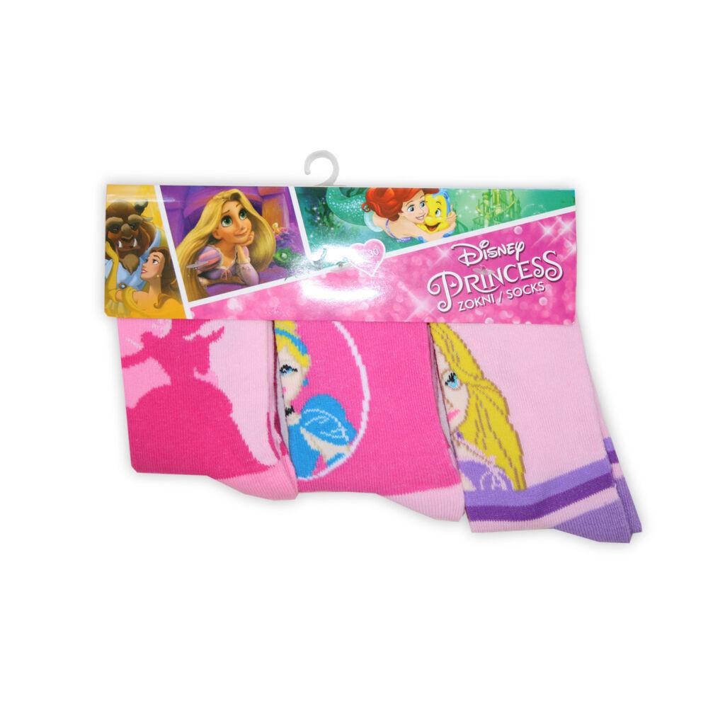 Pamut bokazokni - 3 pár - Disney Hercegnők - rózsaszín - 31-34