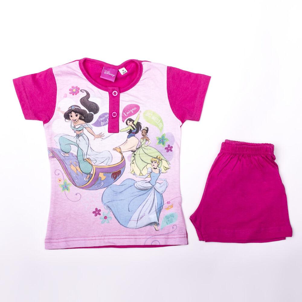 Rövid ujjú pamut gyerek pizsama - Disney Hercegnők - pink - 116