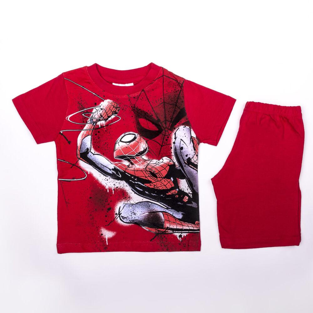 Pókember kisfiú pamut nyári együttes - póló-rövidnadrág szett - piros - 128