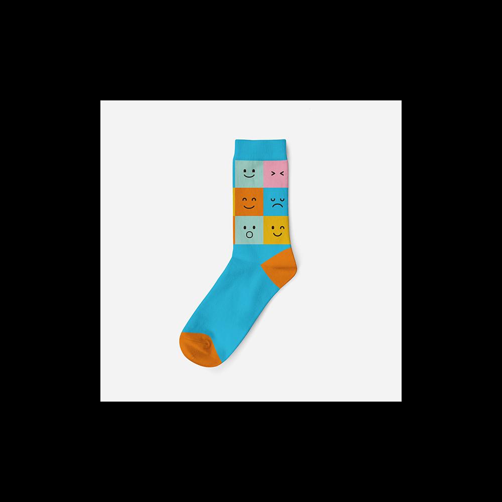 Női pamut zokni - türkizkék-narancssárga - kockás - 35-38 - Evidence