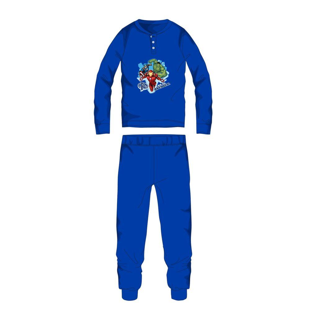 Bosszúállók téli pamut gyerek pizsama - interlock pizsama - középkék - 98