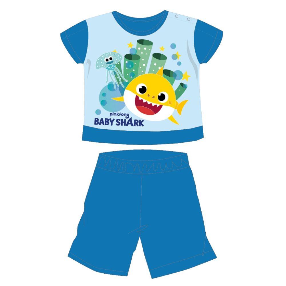 Baby Shark nyári rövid ujjú baba pizsama - pamut jersey pizsama - középkék - 86