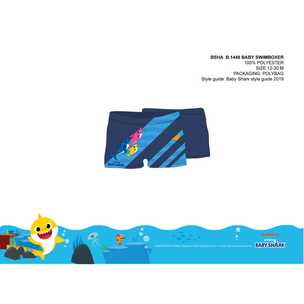Baby shark baba fürdő boxer kisfiúknak - sötétkék - 80