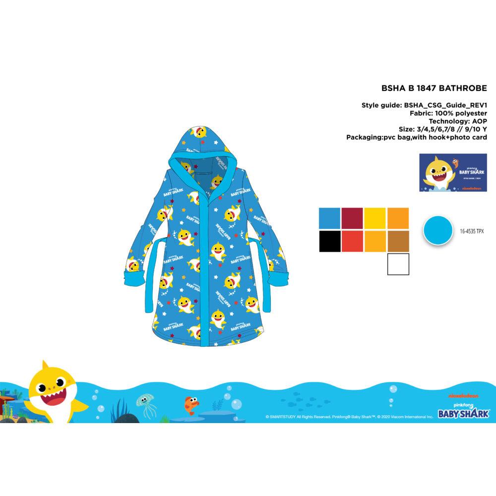 Baby Shark mikroszálas kapucnis köntös gyerekeknek - világoskék - 92-98