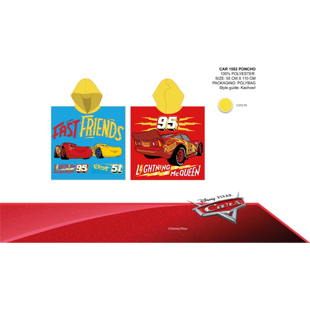 Disney Verdák gyerek poncsó - sárga kapucnival - 55x110
