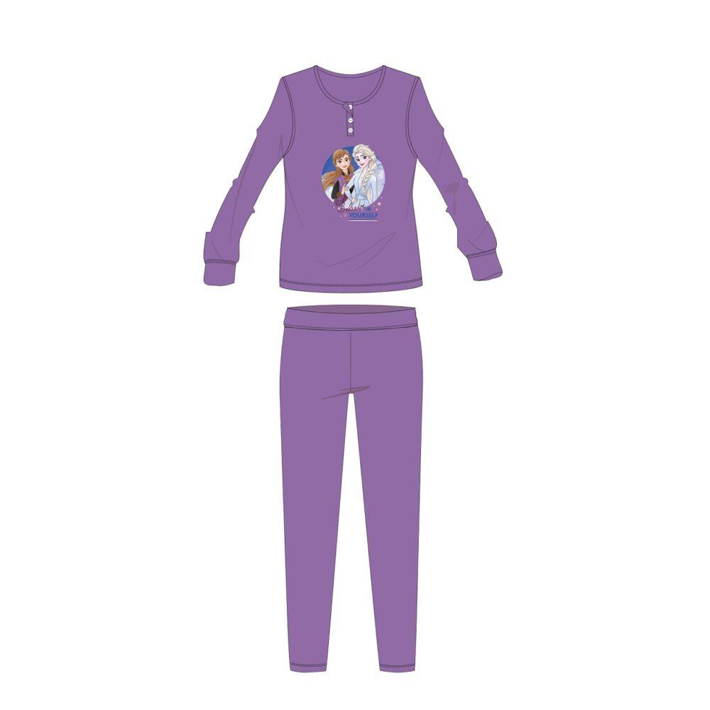 Disney Jégvarázs téli pamut gyerek pizsama - interlock pizsama - sötétlila - 122