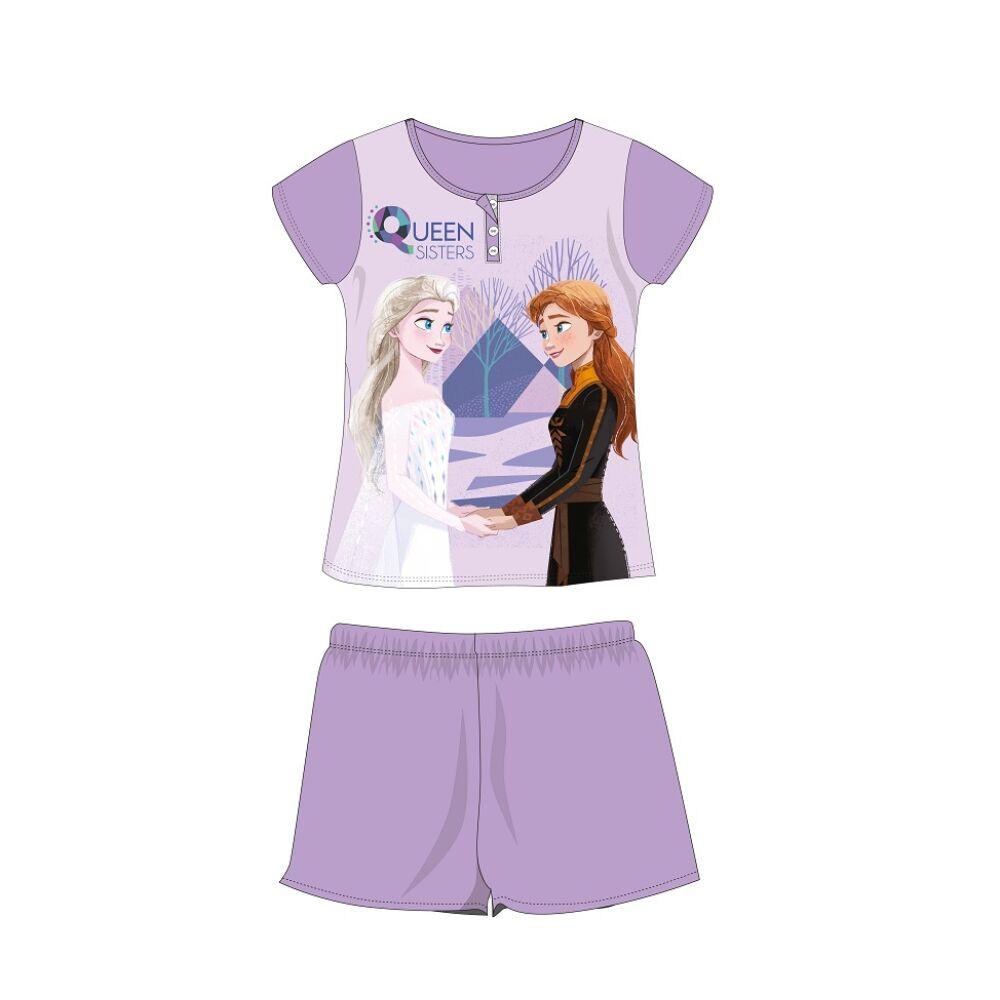 Disney Jégvarázs nyári rövid ujjú gyerek pizsama - Queen Sisters felirattal - pamut jersey pizsama - világoslila - 104
