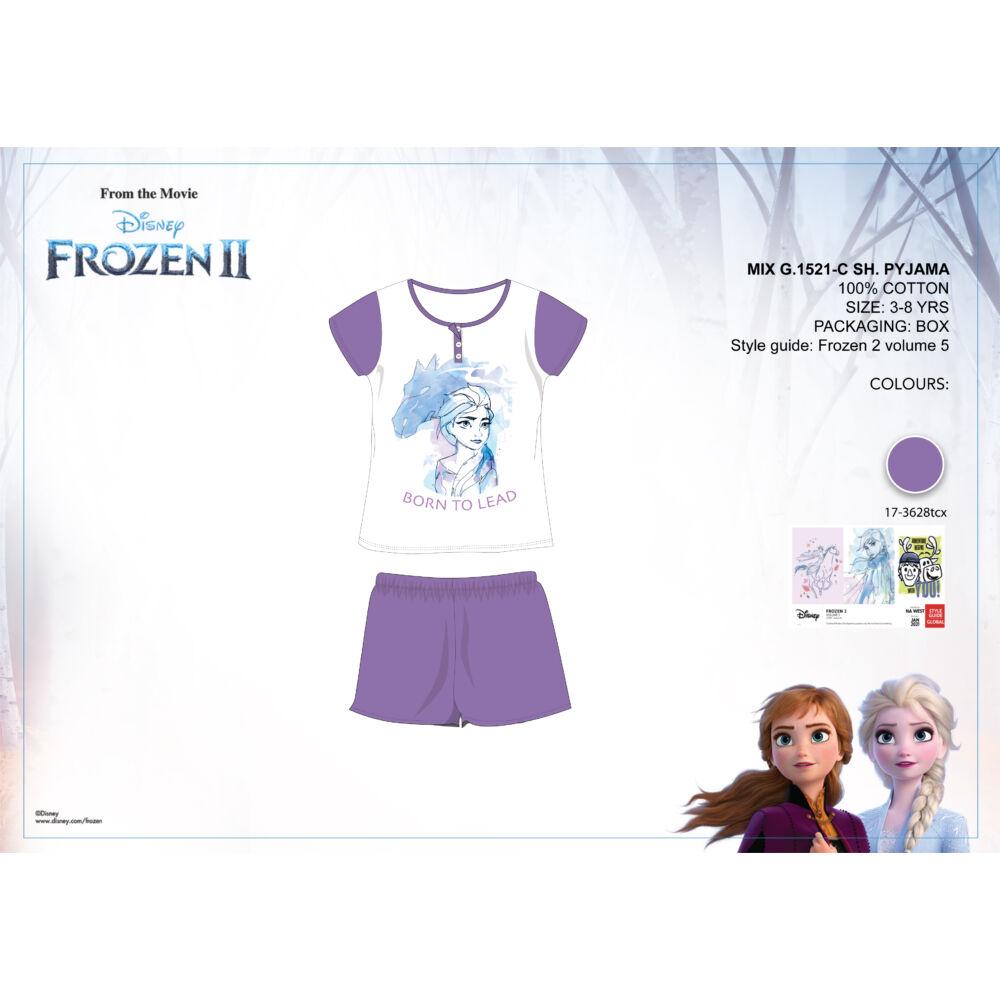 Disney Jégvarázs nyári rövid ujjú gyerek pizsama - pamut pizsama - lila - 98