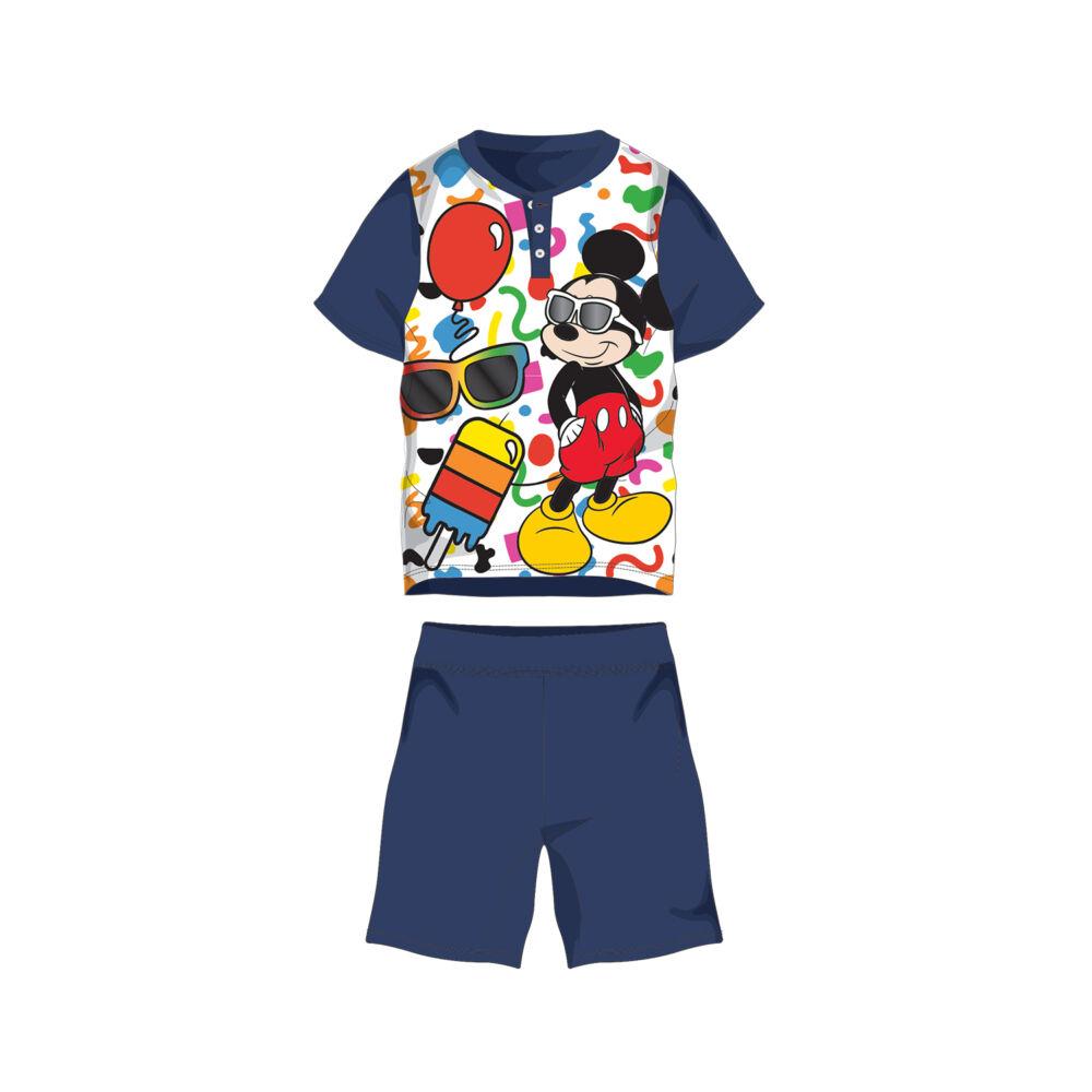 Nyári rövid ujjú gyerek pamut pizsama - Disney Mickey egér - sötétkék - 110