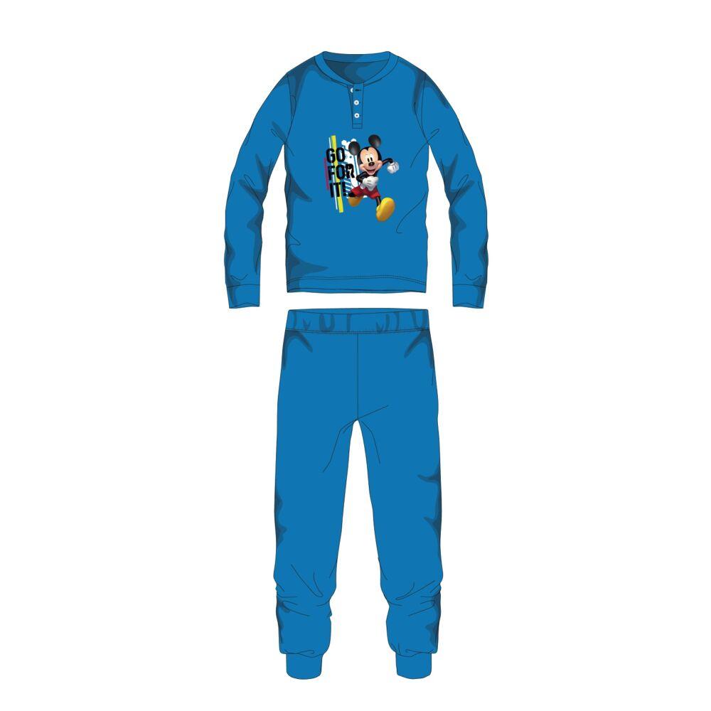 Disney Mickey egér téli pamut gyerek pizsama - interlock pizsama - világoskék - 98