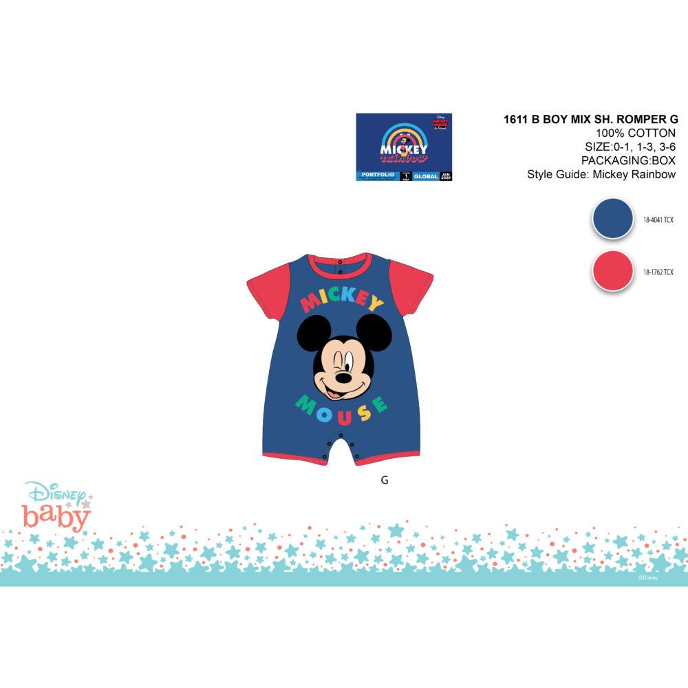 Disney Mickey egér nyári rövid ujjú baba rugdalózó - sötétkék-piros - 0-1 hónapos babának