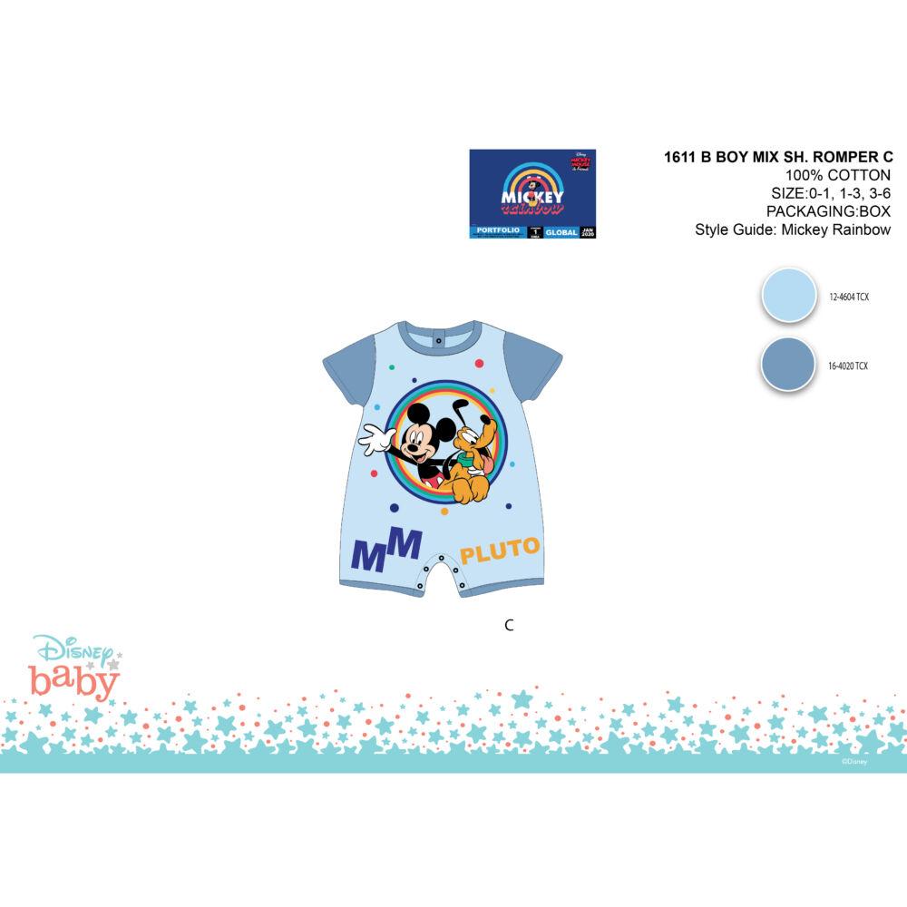 Disney Mickey egér nyári rövid ujjú baba rugdalózó - Mickey és Plútó mintával - világoskék-kék - 0-1 hónapos babának