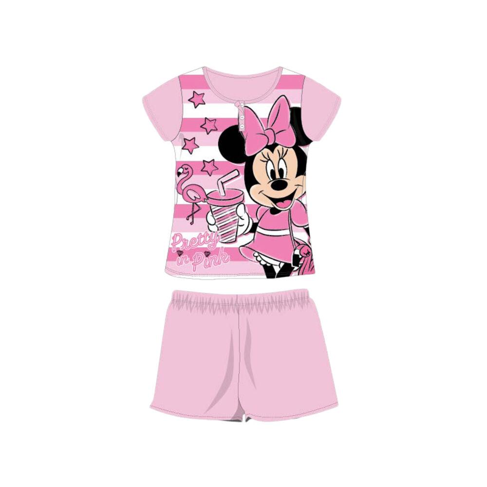 Nyári rövid ujjú gyerek pamut pizsama - Disney Minnie egér - csíkos - világosrózsaszín - 140