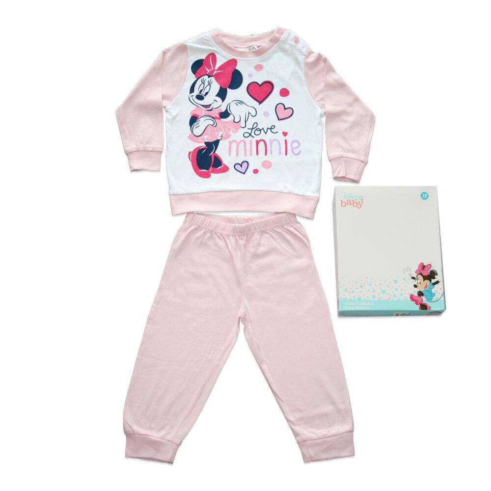 Hosszú vékony pamut baba pizsama - szivecskés Minnie egér - Jersey - világosrózsaszín - 98