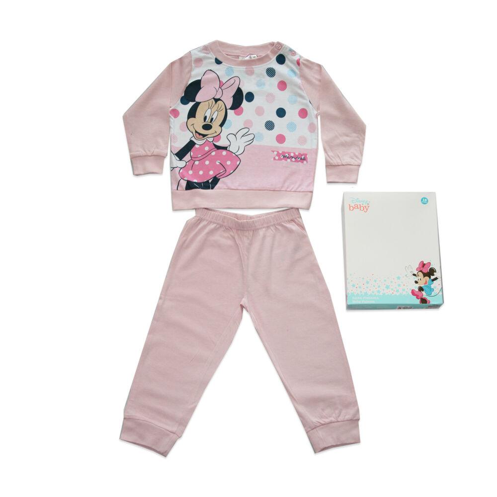 Hosszú vékony pamut baba pizsama - pöttyös Minnie egér - Jersey - világosrózsaszín - 80