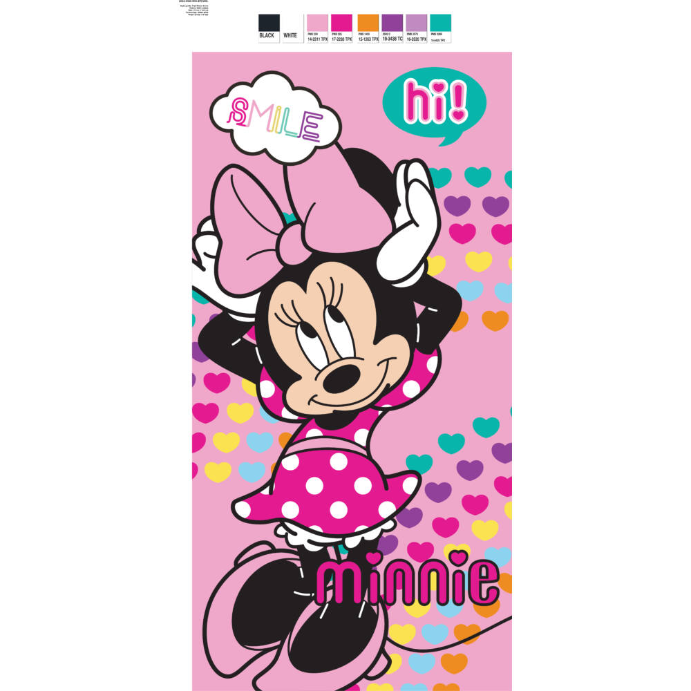 Disney Minnie egér gyerek strandtörölköző - 67x137 - rózsaszín