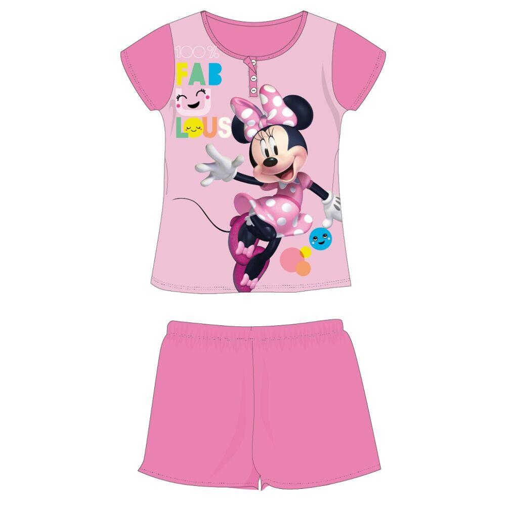 Disney Minnie egér nyári rövid ujjú gyerek pizsama - pamut jersey pizsama - rózsaszín - 110