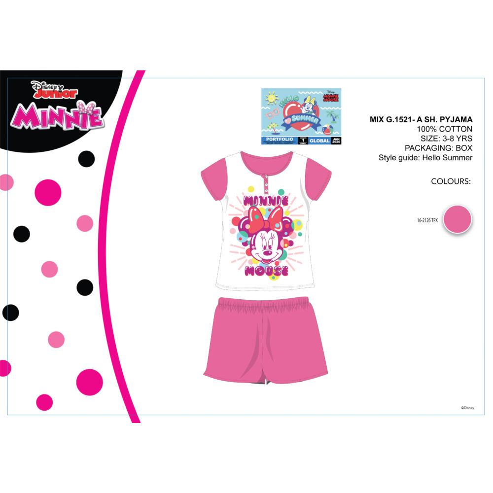 Disney Minnie egér nyári rövid ujjú gyerek pizsama - pamut pizsama - rózsaszín - 104