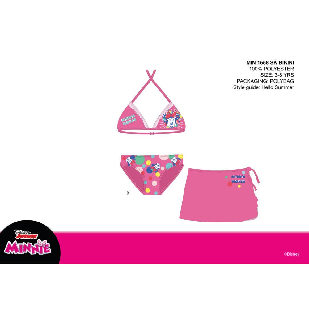 Disney Minnie egér fürdőruha szett kislányoknak - bikini háromszög felsőrésszel+szoknya - rózsaszín - 98