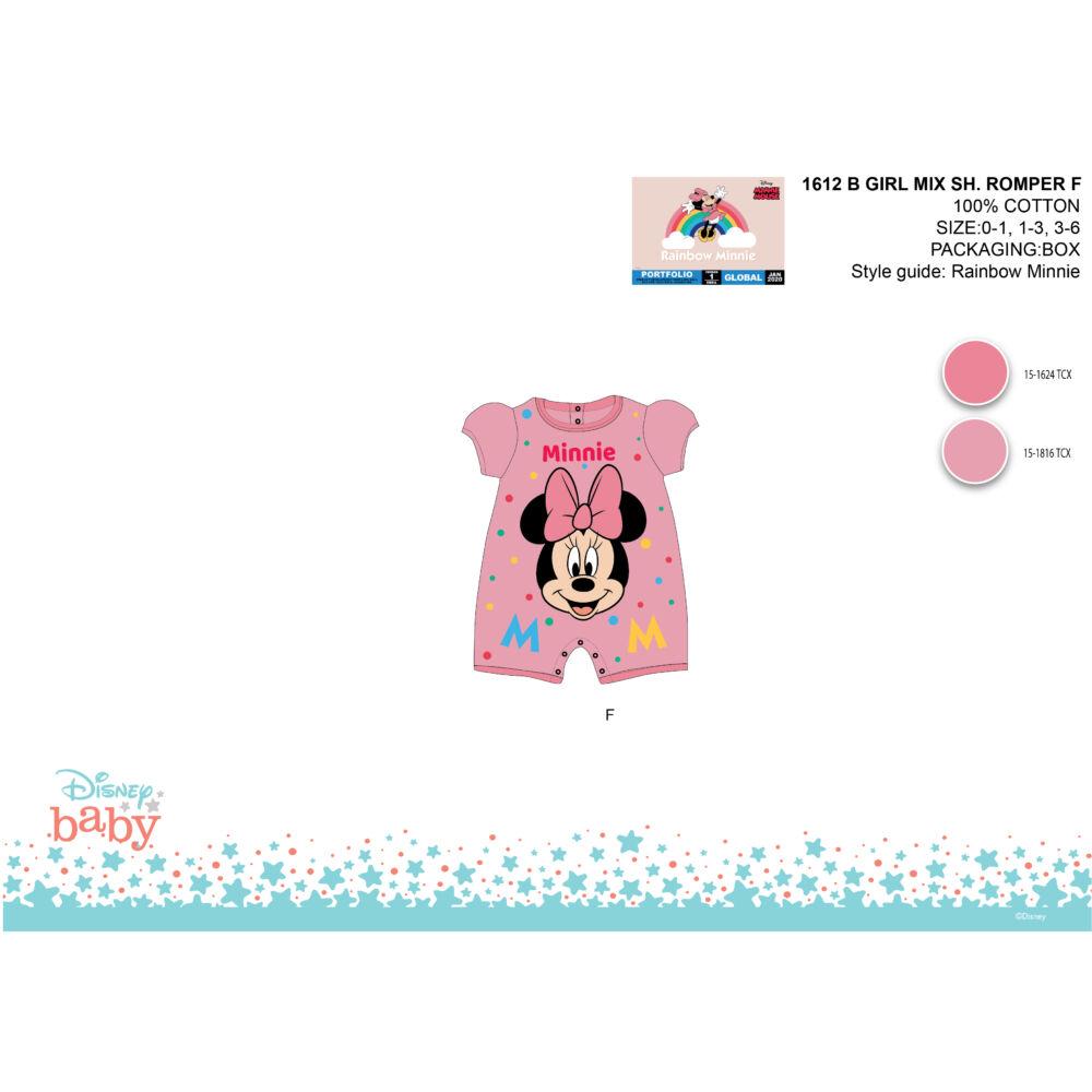Disney Minnie egér nyári rövid ujjú baba rugdalózó - rózsaszín - 0-1 hónapos babának
