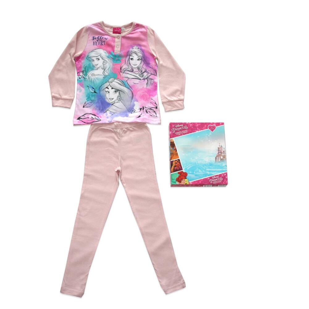Hosszú vékony pamut gyerek pizsama - Hercegnők - Jázmin hercegnővel - Jersey - világosrózsaszín - 98