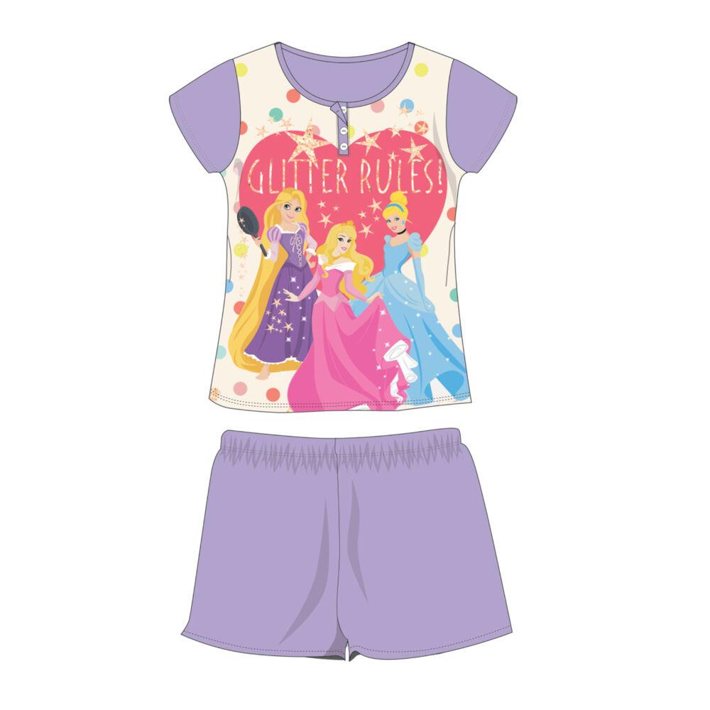 Nyári rövid ujjú gyerek pamut pizsama - Disney Hercegnők - világoslila - 116