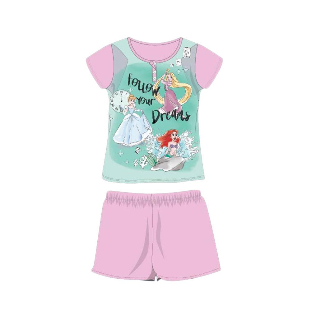 Nyári rövid ujjú gyerek pamut pizsama - Disney Hercegnők - Follow your dreams felirattal - világosrózsaszín - 104