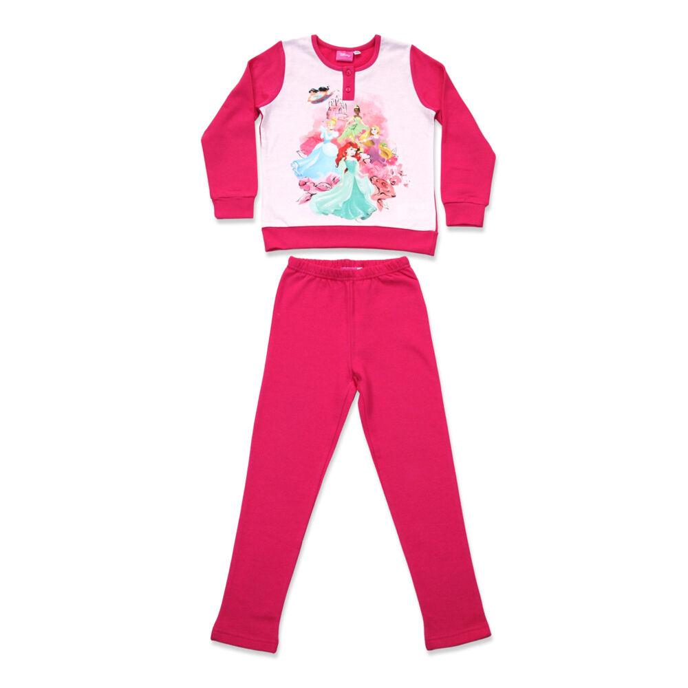 Téli flanel gyerek pizsama - Hercegnők - pink - 98