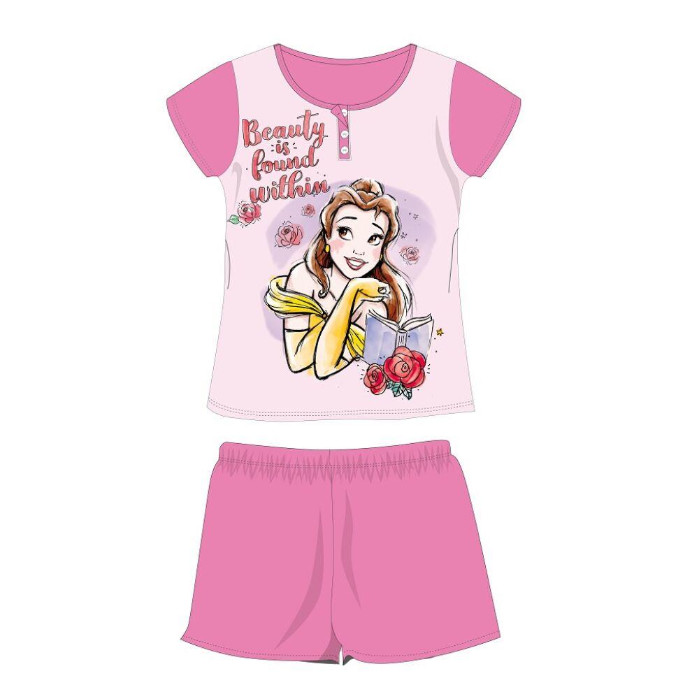 Disney Hercegnők nyári rövid ujjú gyerek pizsama - pamut jersey pizsama - rózsaszín - 104
