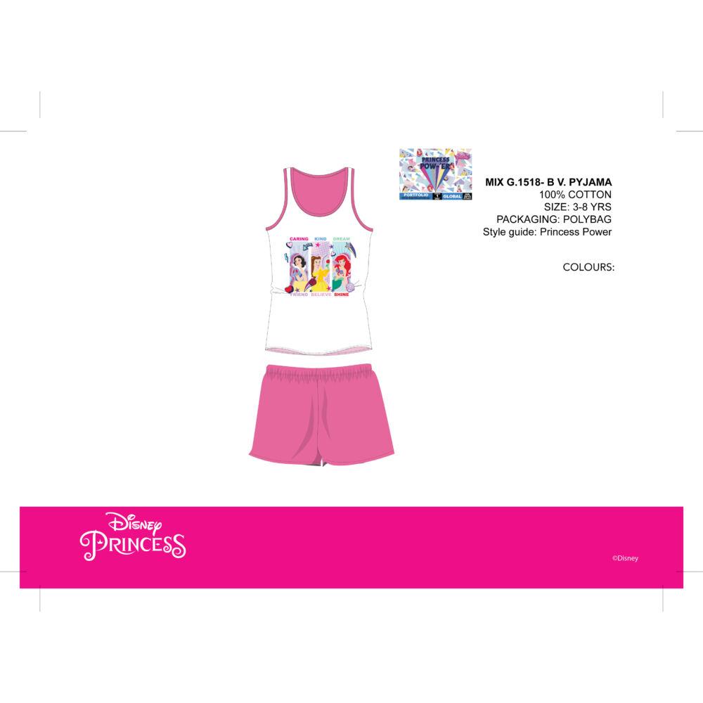 Disney Princess nyári ujjatlan gyerek pizsama - pamut pizsama - rózsaszín - 98