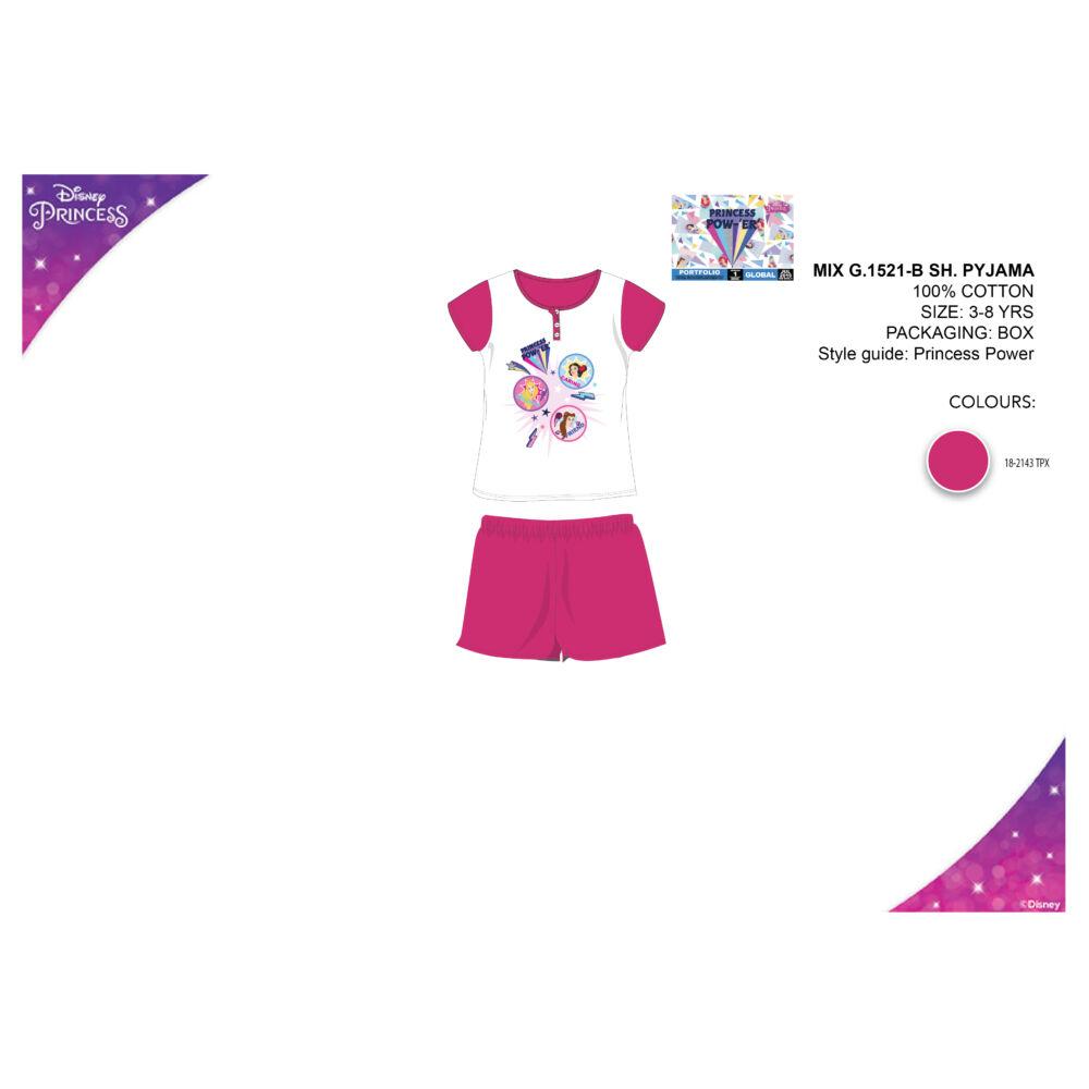 Disney Hercegnők nyári rövid ujjú gyerek pizsama - pamut pizsama - pink - 104